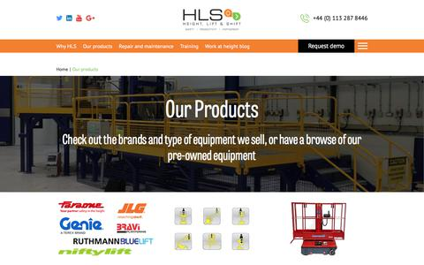 Screenshot of Products Page hls.co - HLS supply a full range of equipment for working at height - captured July 31, 2017