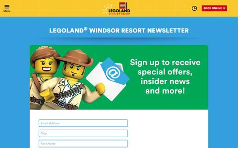 Screenshot of Signup Page legoland.co.uk - SIGN UP FOR LATEST NEWS AND OFFERS - captured July 3, 2016