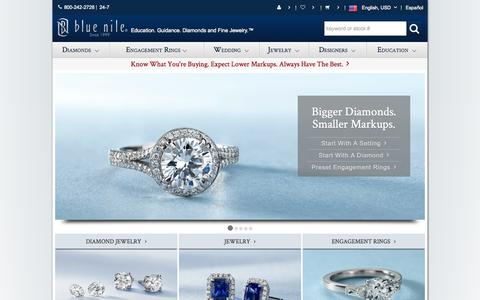 Screenshot of Home Page bluenile.com - Engagement Rings, Diamonds, Wedding Rings, and Fine Jewelry at Blue Nile - captured Sept. 13, 2014