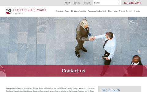 Screenshot of Contact Page cgw.com.au - Contact Us | Brisbane Law Firm | Cooper Grace Ward Lawyers - captured July 2, 2019