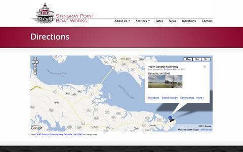 Screenshot of Maps & Directions Page stingraypointboatworks.com - Directions | stingraypoint boat works - captured Oct. 1, 2014