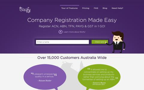 Screenshot of Home Page bizify.com.au - Online Company Registration in Australia with simple application form | Bizify - captured Sept. 30, 2014