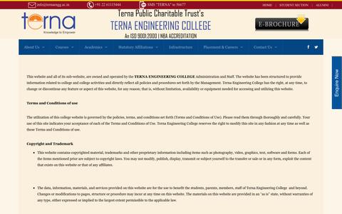 Screenshot of Terms Page terna.org - Terna Engineering College Nerul Terms & Conditions - Terna Engineering College Nerul - captured July 3, 2016
