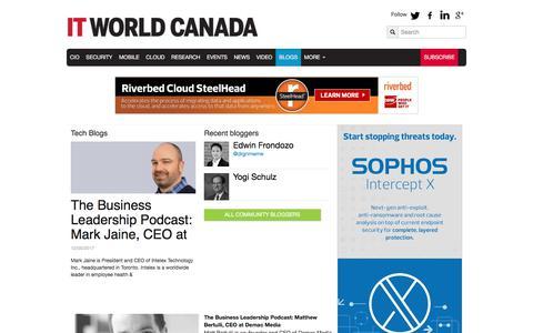 Screenshot of Blog itworldcanada.com - Tech Blogs | IT World Canada - captured Dec. 10, 2017
