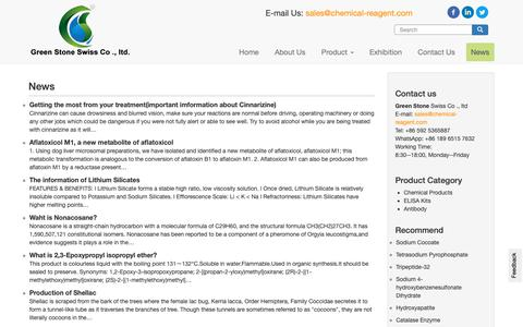 Screenshot of Press Page chemical-reagent.com - Chemical products news - GREEN STONE  News Center on chemical-reagent.com - captured Oct. 30, 2018
