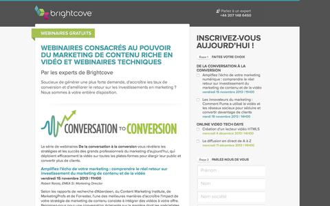 Screenshot of Landing Page brightcove.com - Brightcove | Webinaires consacrés au pouvoir du marketing de contenu riche en vidéo et webinaires techniques par les experts de Brightcove - captured May 11, 2016