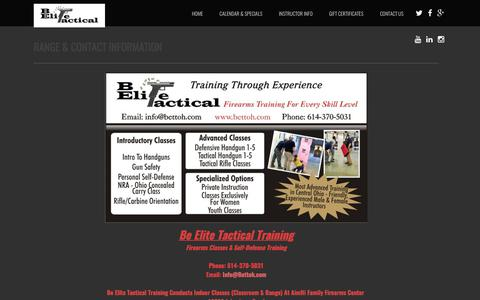 Screenshot of Contact Page bettoh.com - Be Elite Tactical Training - Range Info - Columbus, OH - Firearms Classes - captured Oct. 10, 2017