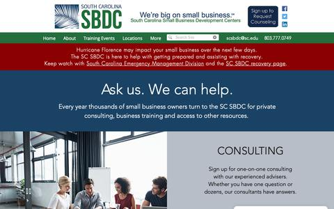 Screenshot of Services Page scsbdc.com - Services | SC Small Business Development Centers - captured Oct. 20, 2018