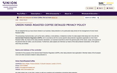Screenshot of Privacy Page unionroasted.com - Privacy Policy - captured Oct. 19, 2018