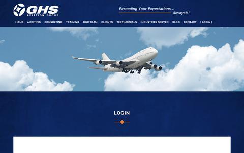 Screenshot of Login Page ghsaviationgroup.aero - GHS Aviation   Login - captured July 15, 2018