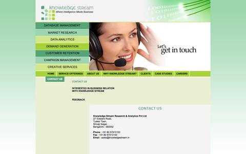 Screenshot of Contact Page knowledgestream.in - Knowledge Stream - Where Intelligence Meets Business - captured Oct. 8, 2014