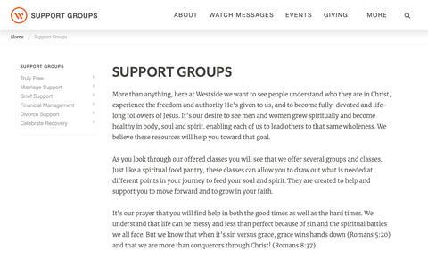 Screenshot of Support Page westsidechurch.org - Westside Church in Bend, Oregon | Life. Love. Jesus. - captured Oct. 10, 2018