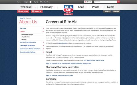Screenshot of Jobs Page riteaid.com - Rite Aid Careers – Rite Aid - captured Oct. 10, 2014