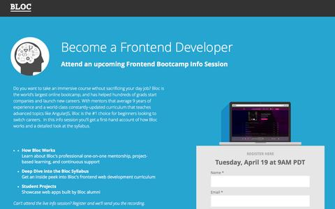 Screenshot of Landing Page bloc.io - Frontend Development Bootcamp Into Session: Become a JavaScript Developer in 18 Weeks - captured Oct. 29, 2016
