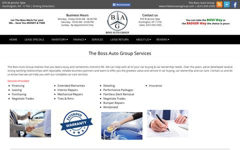 Screenshot of Services Page thebossautogroup.com - Repair & garage facilities in Huntington, NY - captured Oct. 20, 2018