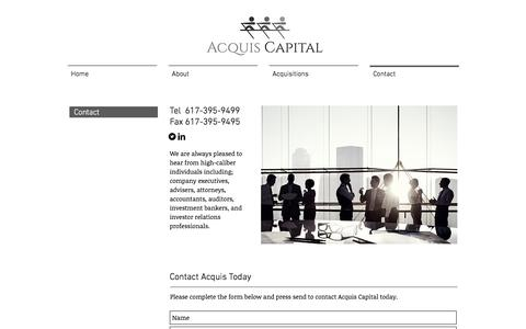 Screenshot of Contact Page acquiscapital.com - Contact | Acquis Capital - captured Nov. 20, 2016