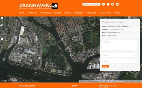 Screenshot of Contact Page zaanhaven.nl - Contactgegevens zaanhaven - captured Oct. 27, 2014