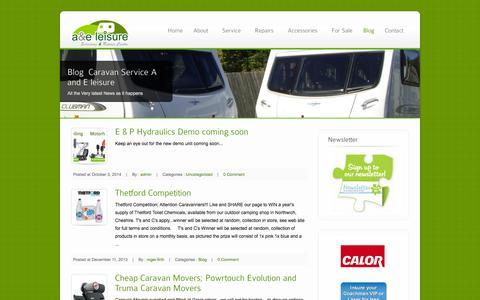 Screenshot of Blog caravanservicecheshire.co.uk - A & E Leisure, Caravan & Motorhome, service deals and offers - captured Oct. 4, 2014
