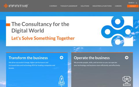 Screenshot of Home Page infinitive.com - The Consultancy for the Digital World - Infinitive - captured Aug. 14, 2018