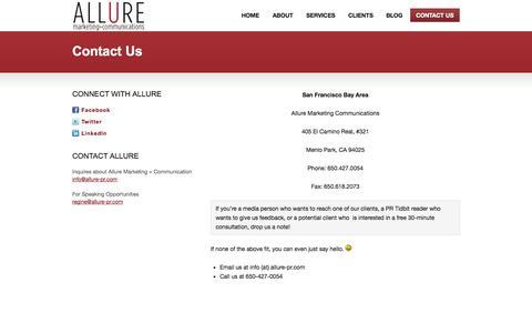 Screenshot of Contact Page allure-pr.com - Contact Us - captured Oct. 4, 2014