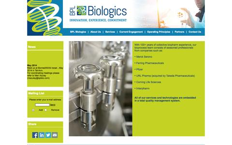 Screenshot of About Page bplbio.com - www.bplbio.com - About Us - captured Oct. 4, 2014