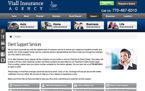 Screenshot of Support Page insurancepeachtreecityga.com - Client Support Services for Viall Insurance Agency in Peachtree City Georgia - captured Oct. 19, 2018