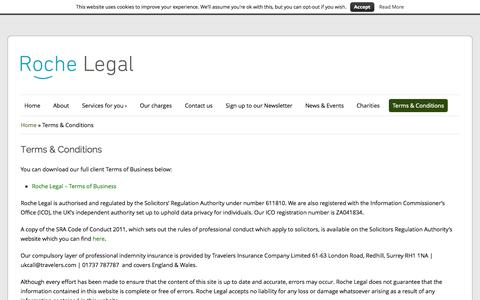 Screenshot of Terms Page rochelegal.co.uk - Terms and Conditions | Roche Legal | Yorkshire UK - captured Oct. 7, 2014