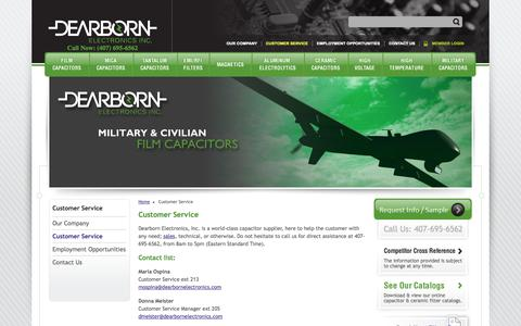 Screenshot of Support Page dearbornelectronics.com - Customer Service | Dearborn Electronics - captured Oct. 5, 2014