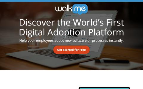 Screenshot of Landing Page walkme.com - Discover the World's First Digital Adoption Platform - WalkMe™ - Digital Adoption Platform - captured Sept. 27, 2018