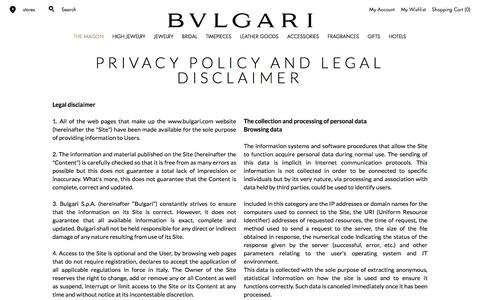 Screenshot of Privacy Page bulgari.com - Bulgari | Privacy Policy - captured July 31, 2016