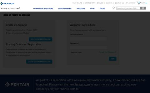 Screenshot of Login Page pentairaes.com - Customer Login - captured May 25, 2018
