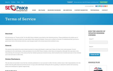 Screenshot of Terms Page seopeace.com - Terms of Service | Seo Peace - captured Sept. 30, 2014