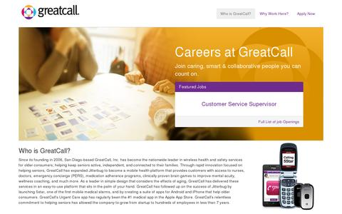 Screenshot of Jobs Page greatcall.com - Jobs, Careers, Current Openings| GreatCall - captured July 20, 2014