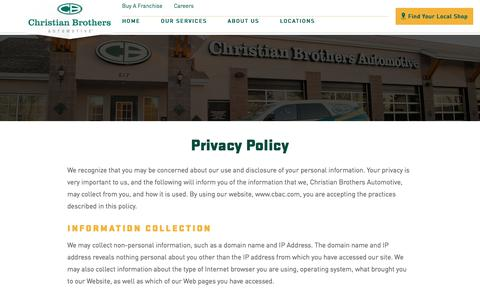 Screenshot of Privacy Page cbac.com - Privacy Policy | Auto Repair Expert - captured Oct. 25, 2017