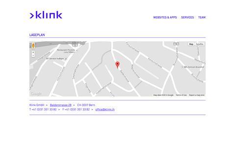 Screenshot of Maps & Directions Page klink.ch - Lageplan - Klink Internet-Agentur Bern - Websites, CMS Typo3, webbasierte Applikationen - captured Oct. 6, 2014