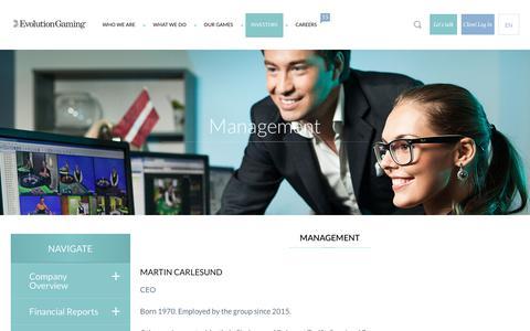 Screenshot of Team Page evolutiongaming.com - Management | Evolution Gaming - captured May 21, 2017