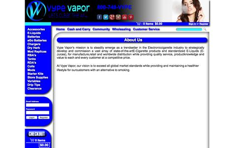 Screenshot of About Page vypevapor.com - Vype Vapor - About Us - captured Oct. 7, 2014