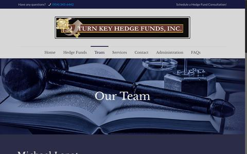 Screenshot of Team Page turnkeyhedgefunds.com - Our Team – Turn Key Hedge Funds - captured Dec. 11, 2018