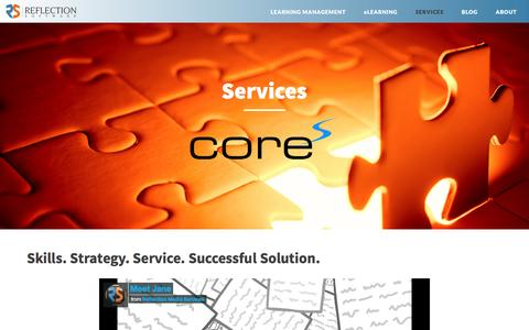 Screenshot of Services Page reflectionsoftware.com - Services - captured Jan. 13, 2016
