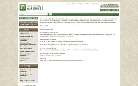 Screenshot of Privacy Page conservationwarehouse.com captured Sept. 29, 2018