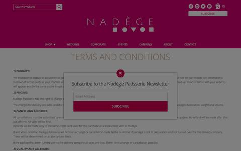 Screenshot of Terms Page nadege-patisserie.com - Terms and Conditions - Nadège Patisserie - captured Dec. 2, 2016