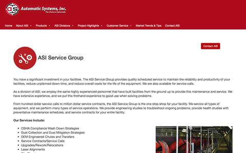 Screenshot of Services Page asi.com - The ASI Service Group provides quality scheduled service to maintain the reliability and productivity of your facilities, reduce unplanned down-time, and reduce overall costs for the life of the equipment. We are also available for service calls - captured Oct. 4, 2018