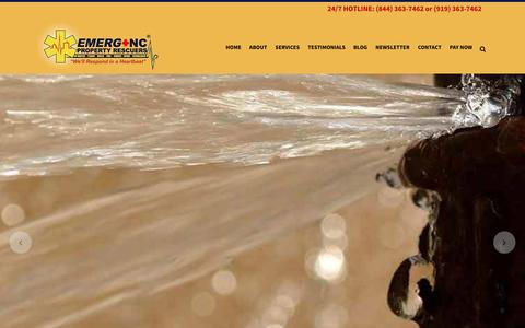Screenshot of Home Page emerg-nc.com - Water Damage, Fire Damage Restoration -Emerg+NC- Raleigh, Cary - captured Sept. 25, 2018