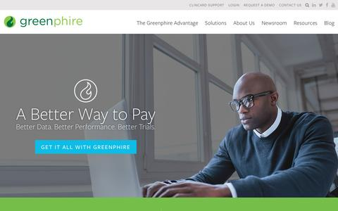 Screenshot of Home Page greenphire.com - Greenphire | Reimbursement Solutions | Clinical Trial Payments - captured May 27, 2016