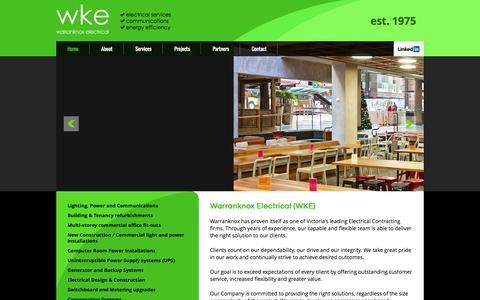 Screenshot of Home Page wke.com.au - Warranknox Electrical (WKE) - captured Oct. 7, 2014