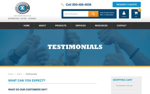 Screenshot of Testimonials Page thinkcompetitive.com - Testimonials - Competitive Components - captured Aug. 19, 2017