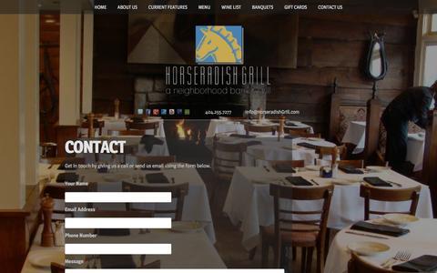 Screenshot of Contact Page horseradishgrill.com - Contact - captured June 24, 2016