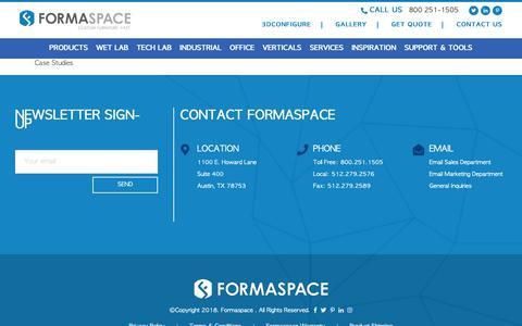 Screenshot of Case Studies Page formaspace.com - Custom Furniture Case Studies - Client Satisfaction | Formaspace - captured Oct. 11, 2018