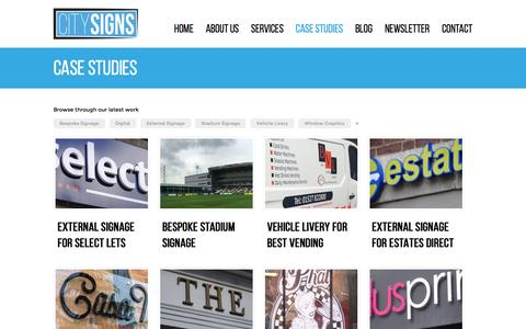 Screenshot of Case Studies Page citysigns.co.uk - Case Studies | City Signs | Bespoke Signage, Digital Printing and Vinyl Graphics - captured Dec. 9, 2015