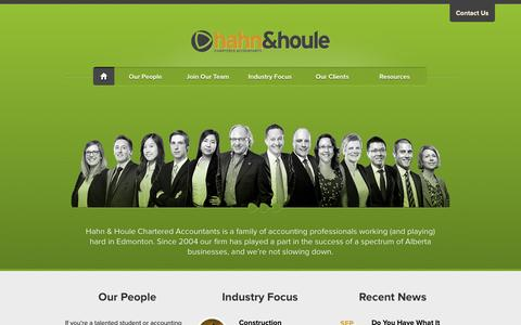 Screenshot of Home Page hahnco.com - Hahn & Houle | Chartered Accountants in Edmonton, Alberta - captured Oct. 1, 2014